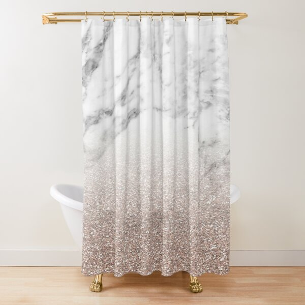 Rose gold glitter on marble Shower Curtain