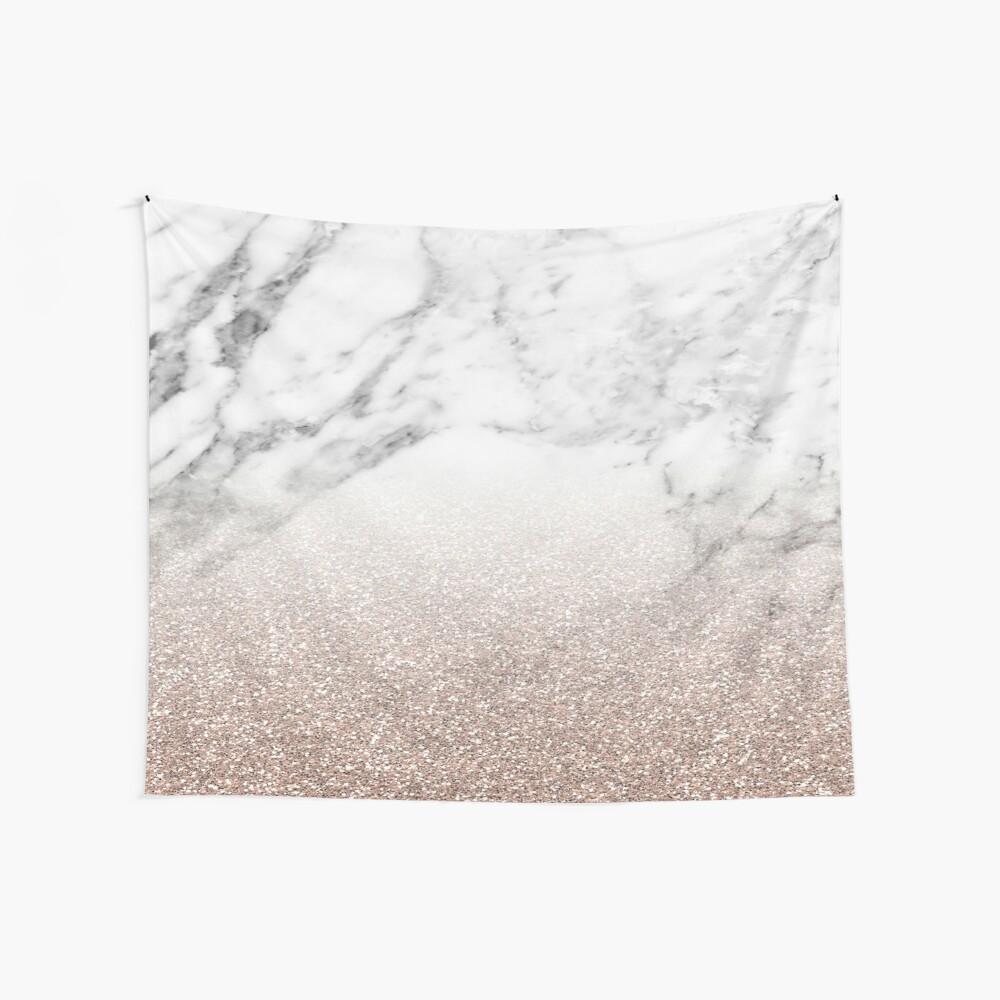 Rose Gold Glitter auf Marmor Wandbehang