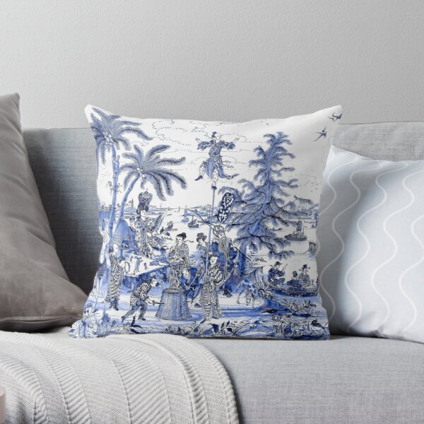 Chinoiserie Blue Landscape Scene Throw Pillow