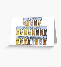 February 29th Birthday, Cartoon Cats. Greeting Card