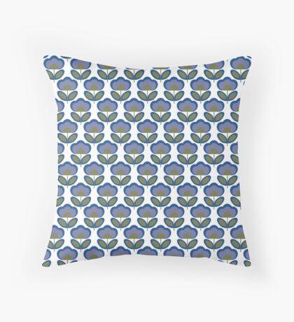 Blue Flowers Retro Pattern Throw Pillow