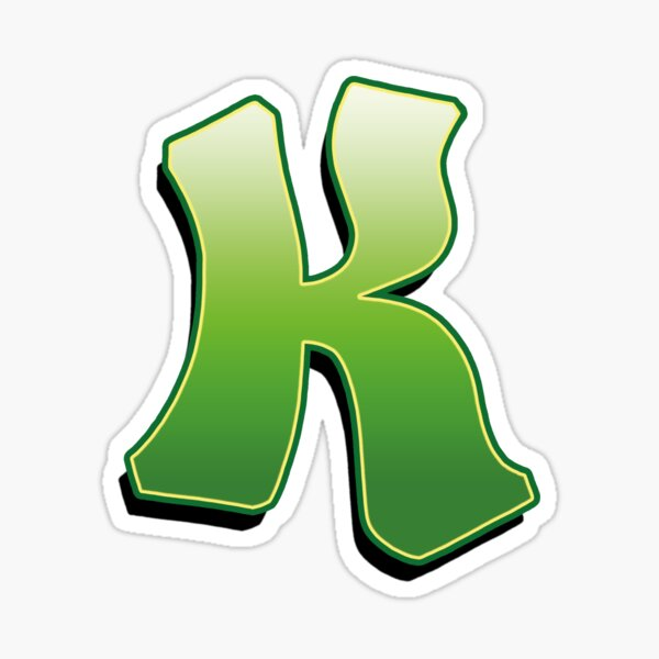 Letter K - Green Sticker