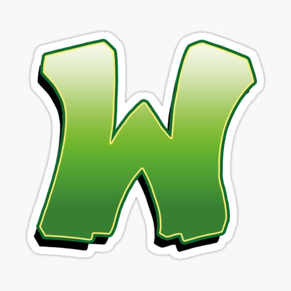 Letter W - Green Sticker