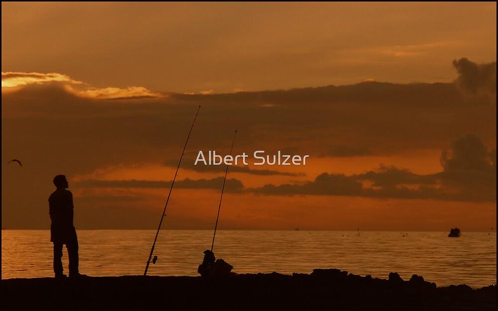 FISHING AT BLACK ROCK by Albert Sulzer