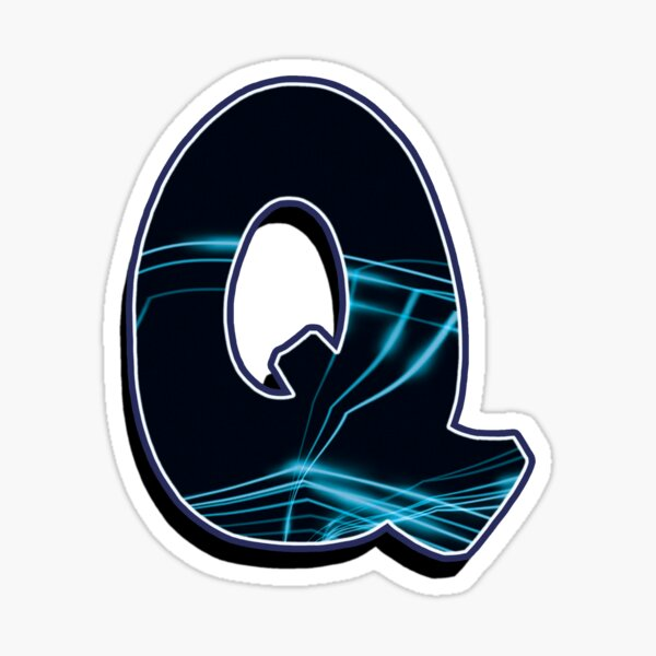 Letter Q - Black/blue lines Sticker