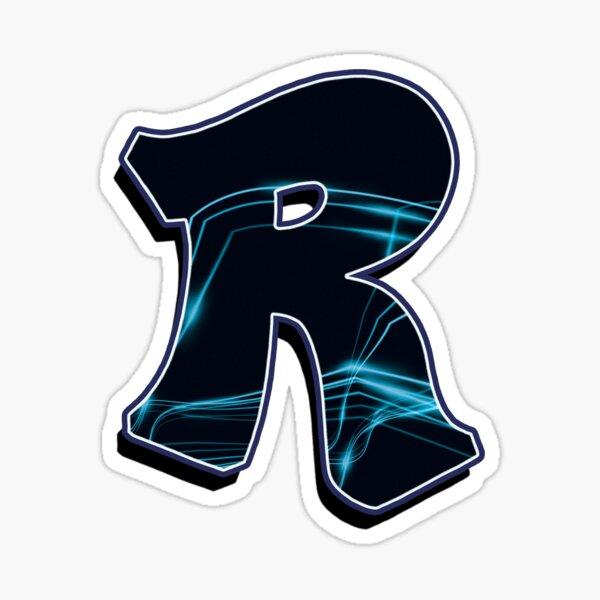 Letter R - Black/blue lines Sticker