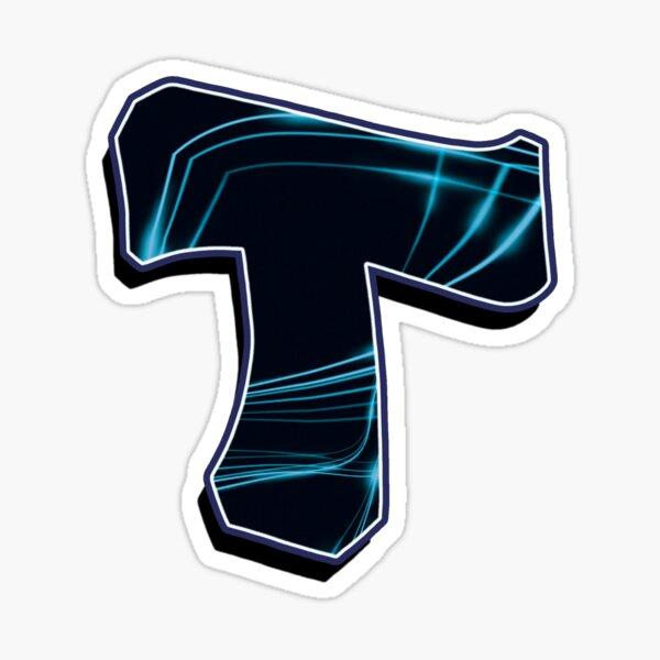 Letter T - Back/Blue lines Sticker