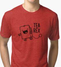 Tea Rex Tea Bag Funny Pun Cartoon Tri-blend T-Shirt