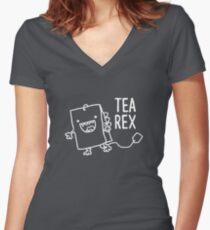Tea Rex Tea Bag Funny Pun Cartoon Women's Fitted V-Neck T-Shirt