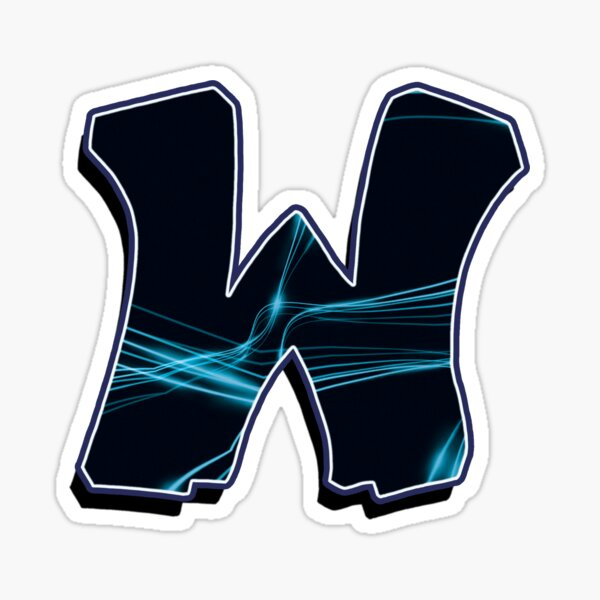 Letter W - Black/Blue lines Sticker