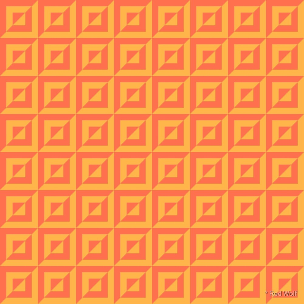 Geometric Pattern: Square Split: Orange by * Red Wolf