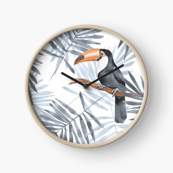 Palm leaves and Toucan Clock