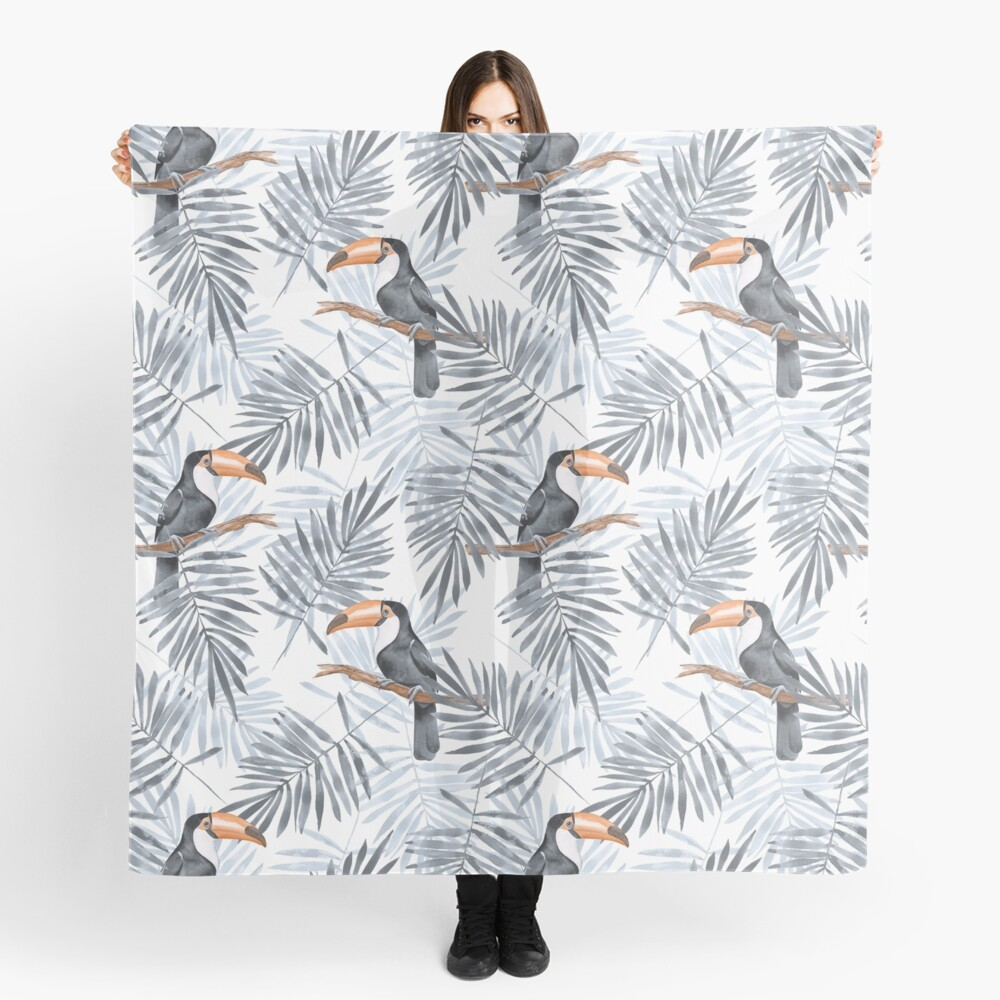 Palm leaves and Toucan Scarf