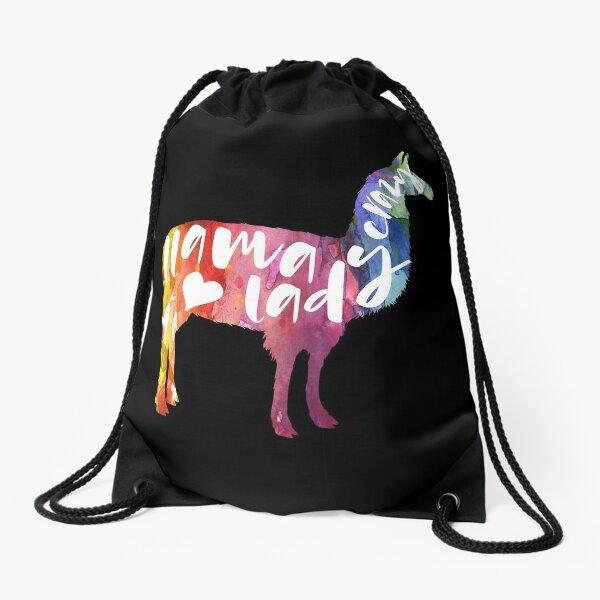 Llama Lover Gifts. Crazy Llama Lady. Watercolor Art Drawstring Bag