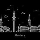 Hamburg Skyline Minimal Line Art Poster by A Deniz Akerman