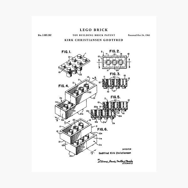 lego Patent Drawing Blueprint Photographic Print