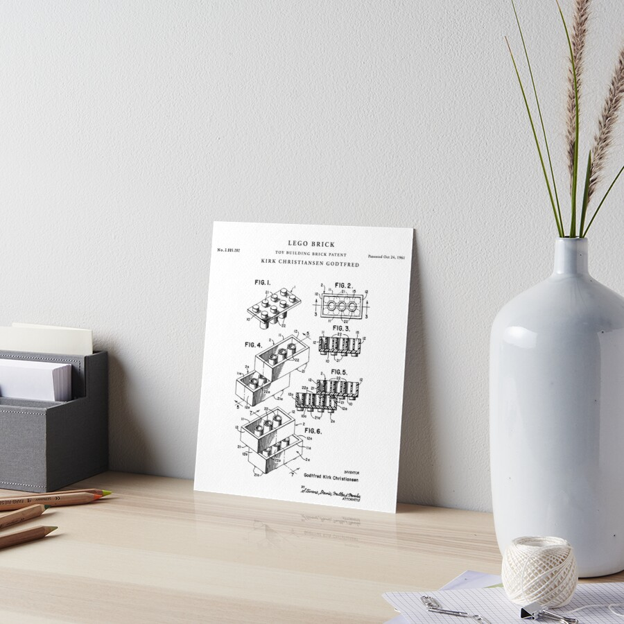 Lego patent drawing blueprint art boards by vintago redbubble lego patent drawing blueprint by vintago malvernweather Gallery