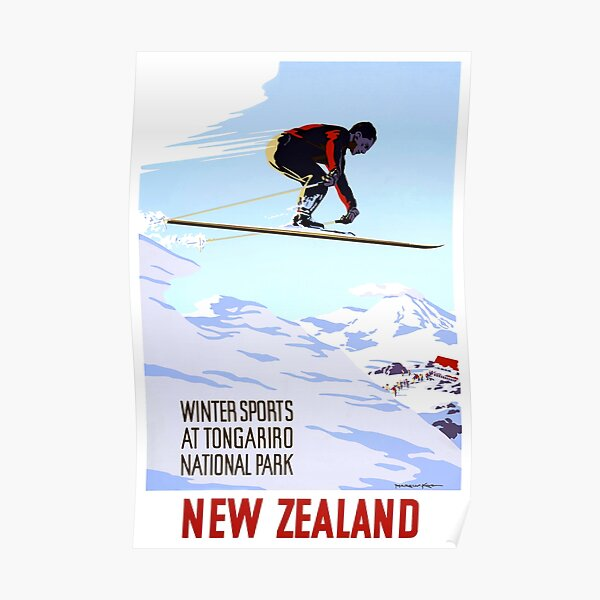 New Zealand Winter Sports Vintage Travel Poster Poster