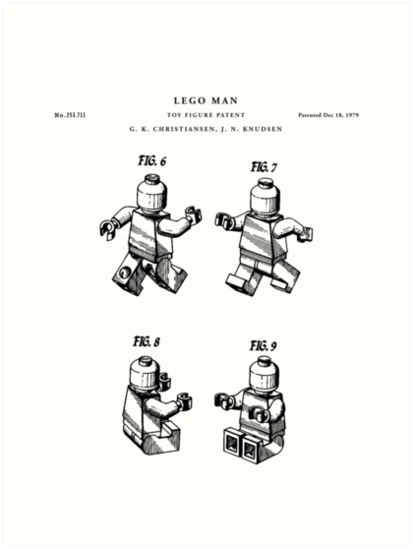 'Lego man Patent Drawing Blueprint' Art Print by Vintago