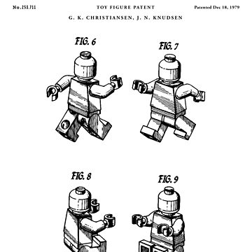 Lego man Patent Drawing Blueprint by Vintago