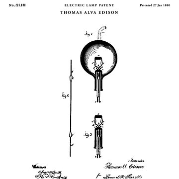 Light Bulb Patent Drawing Blueprint by Vintago