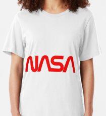 NASA Red Worm Logo Slim Fit T-Shirt