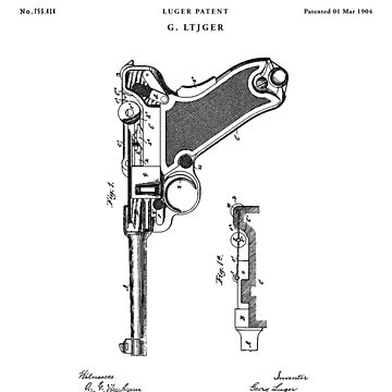 Luger Patent Drawing Blueprint by Vintago