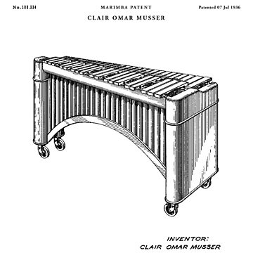 Marimba Patent Drawing Blueprint by Vintago