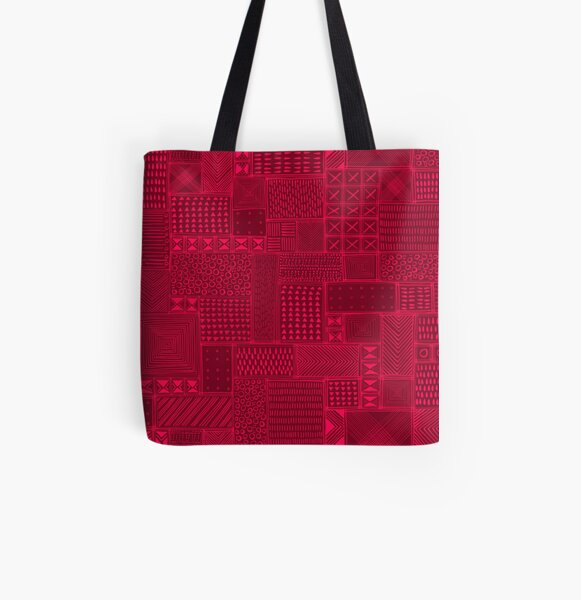 African Red Tribal Mud Cloth All Over Print Tote Bag