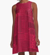 African Red Tribal Mud Cloth A-Line Dress