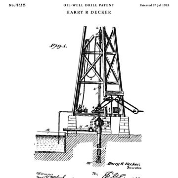 oil Patent Drawing Blueprint by Vintago