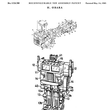 Optimus Prime Patent Drawing Blueprint by Vintago