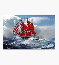 The Clipper Ship Indian Queen in Rough Seas Photographic Print