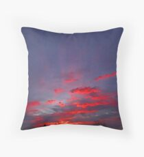 Red Sunrise Abstract Throw Pillow