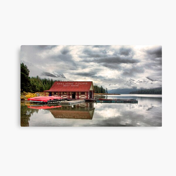 Maligne Lake Boat House Metal Print