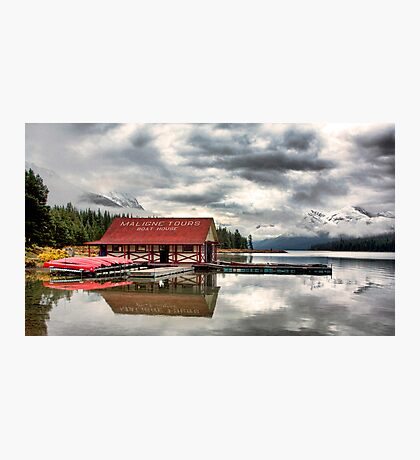 Maligne Lake Boat House Photographic Print