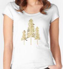 Camiseta entallada de cuello ancho Pinos - Paleta de oro