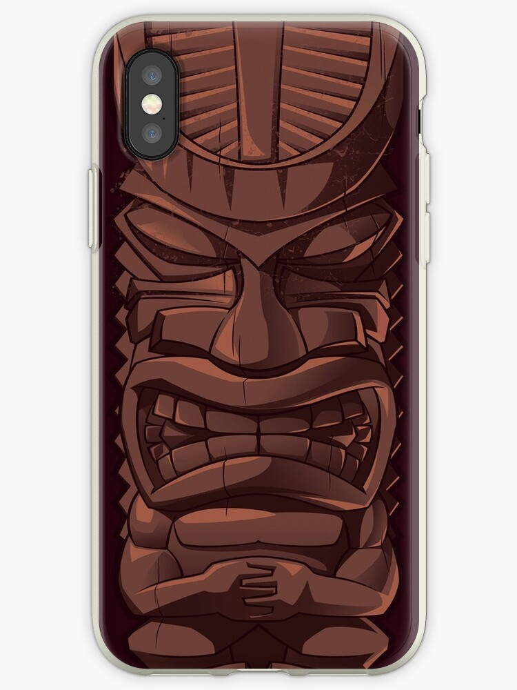 10216f94a6f807 Wooden Tiki Statue Totem Sculpture iPhone Case