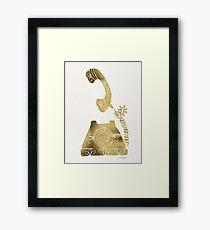 Vintage Rotary Phone – Gold Palette Framed Print