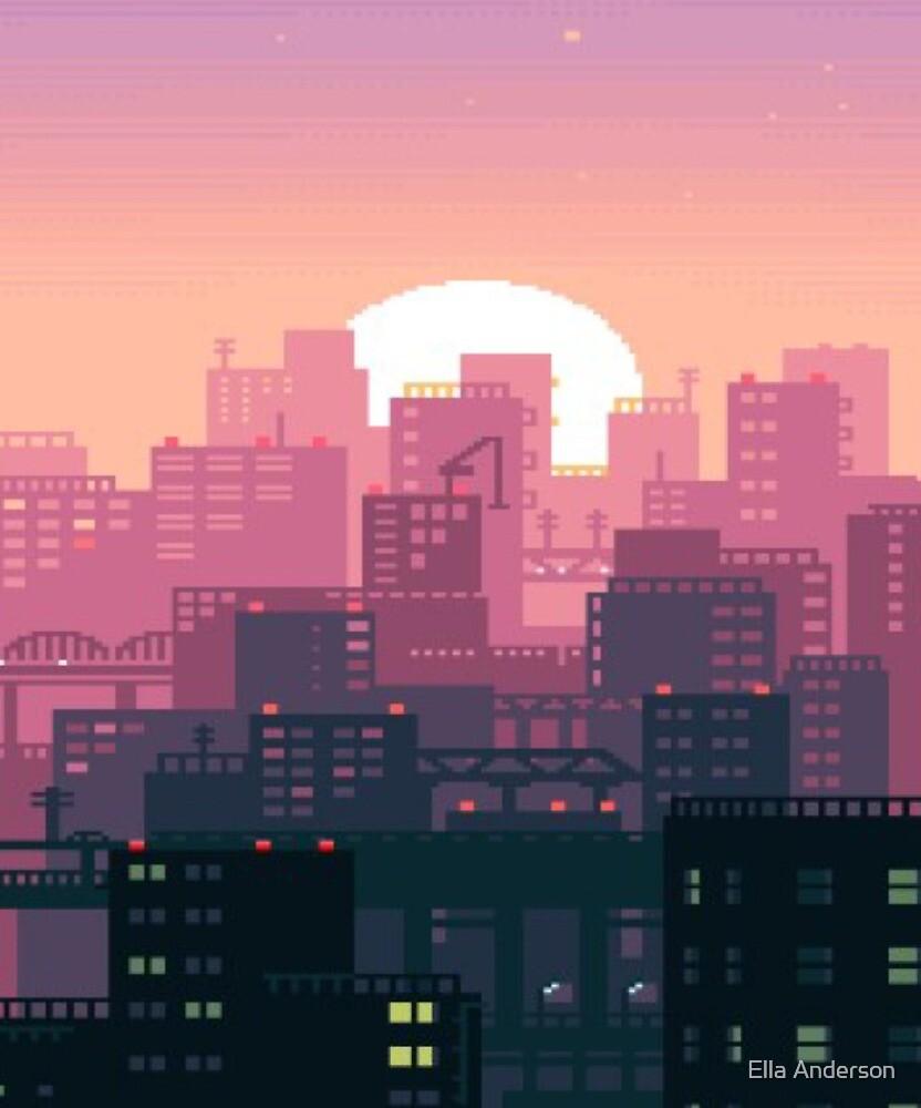 """Pixel Sunset City"" By D19Sapphire15"