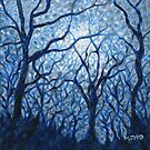 Dusk trees in blue painting by Marion Yeo