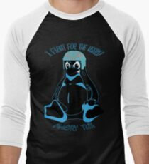 Angry Tux fights for you! Men's Baseball ¾ T-Shirt