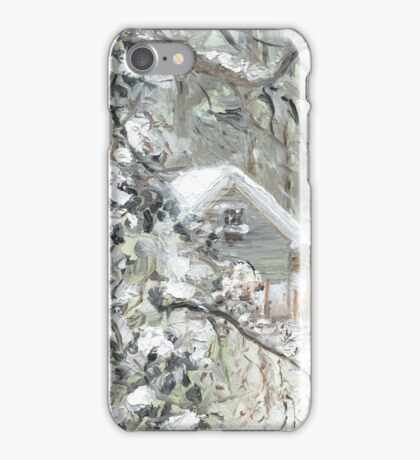 Workshed past the garden in Snow iPhone Case/Skin