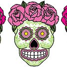Three Sugar Skulls - Pink Roses by Lisa Vollrath