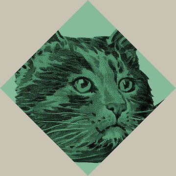 Green Victorian Cat tile - PUrrfect by adrienne75