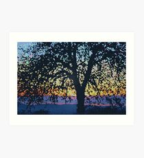 Stained Glass Oak Tree Art Print