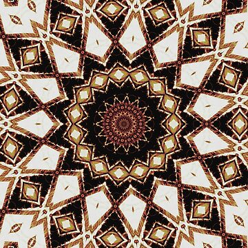 Brown Cream Gold Maroon Mandala Kaleidoscope A475A by byNicol