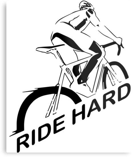 Ride Hard I Love Biking Cycling Is Life Tshirt Metal Prints By