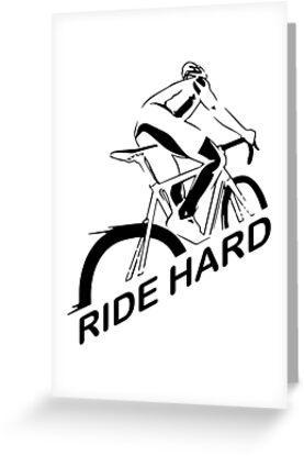 Ride Hard I Love Biking Cycling Is Life Tshirt Greeting Cards