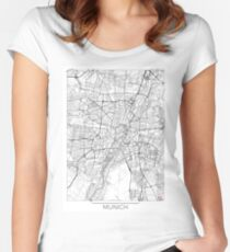 Munich Map Minimal Women's Fitted Scoop T-Shirt